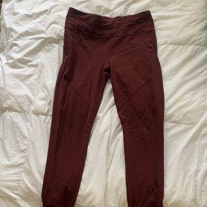 Lululemon Maroon Leggings with zippers